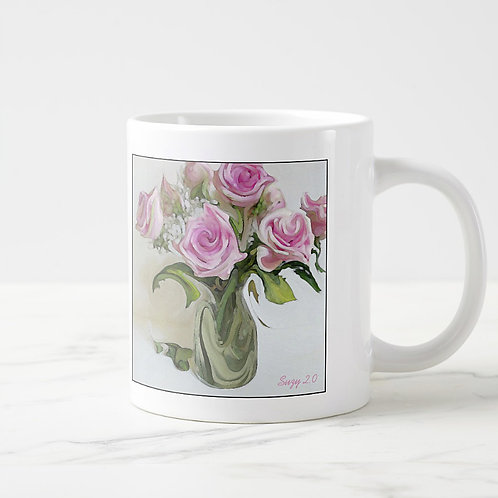 Abstract pink rose bouquet mug by Suzy 2.0 right
