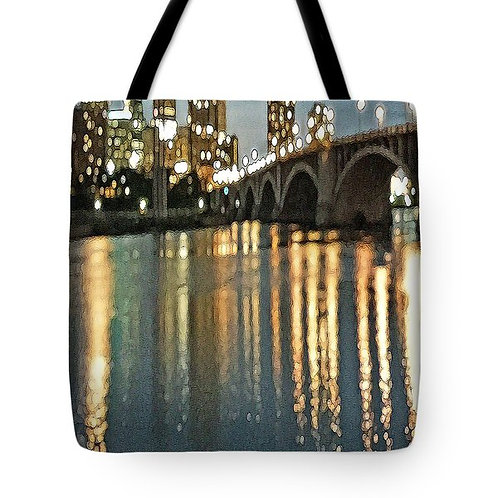 Impressionistic Minneapolis Bridge tote bag by Suzy 2.0
