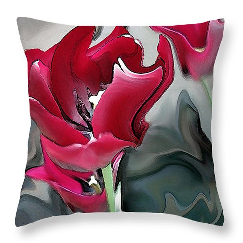Abstract red tulip pillow by Suzy 2.0