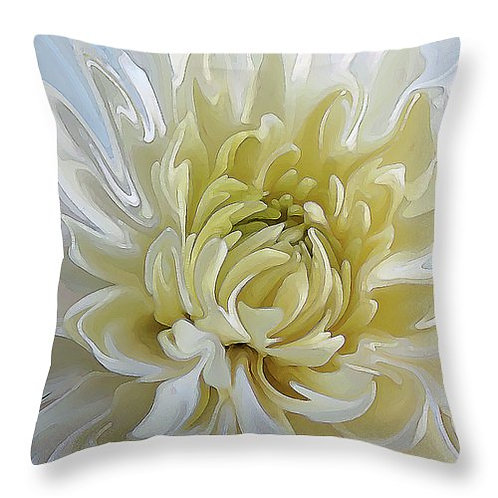 Abstract white Chrysanthemum pillow by Suzy 2.0
