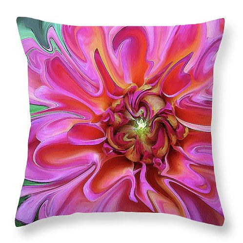Abstract pink Dahlia pillow by Suzy 2.0
