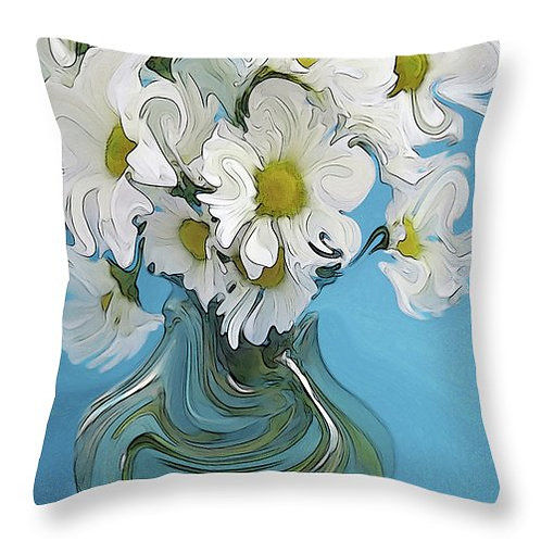 Abstract white daisies pillow by Suzy 2.0