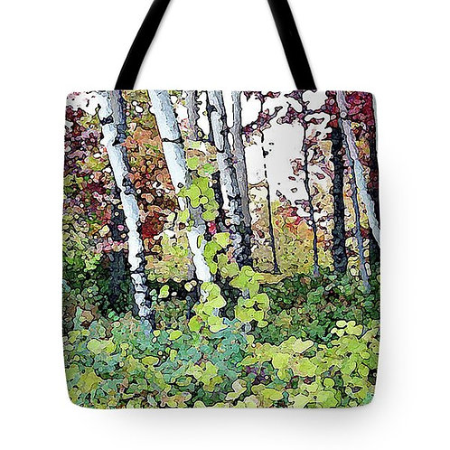 abstract birch trees and fall foliage tote bag by Suzy 2.0