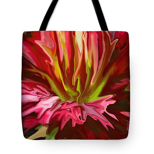 abstract red day lily tote bag by Suzy 2.0