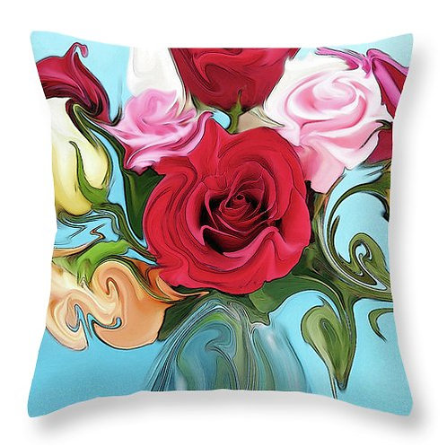 Abstract multi-colored rose pillow by Suzy 2.0