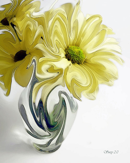 abstract yellow daisy giclee print by Suzy 2.0