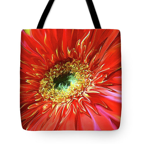 Abstract red Gerbera daisy tote bag by Suzy 2.0