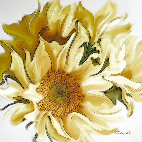 abstract yellow sunflower giclee print by Suzy 2.0