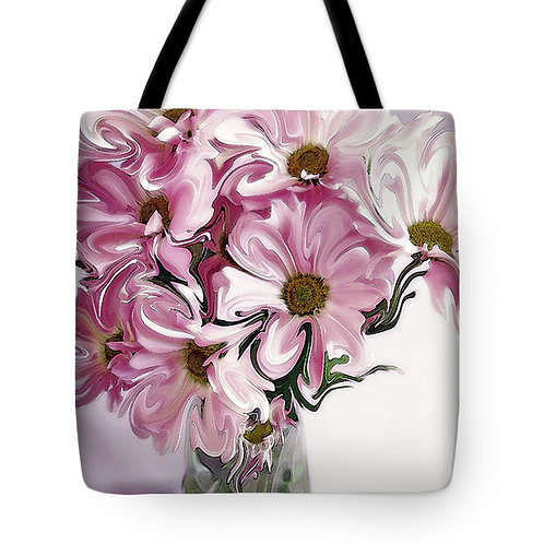 abstract pink daisy tote bag by Suzy 2.0