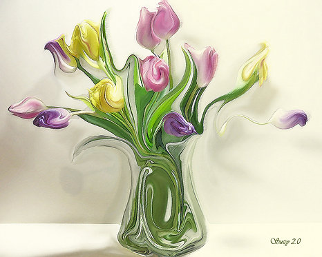 Colorful Abstract Spring Tulip Bouquet Giclee Print by Suzy 2.0
