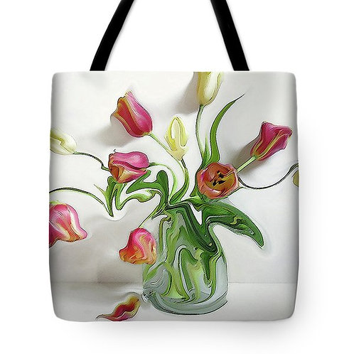 abstract pink, orange and yellow tulip tote bag by Suzy 2.0
