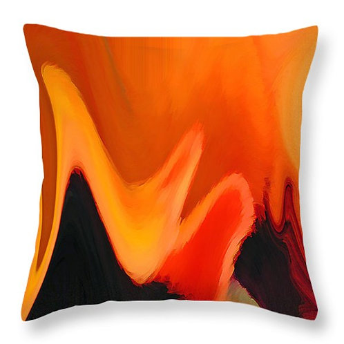Orange and black abstract pillow by Suzy 2.0