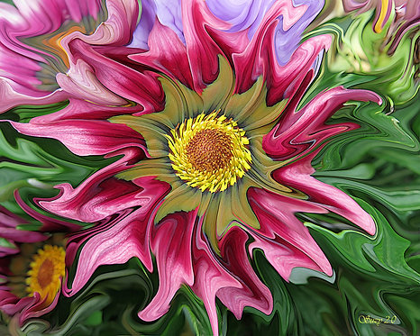 Abstract pink daisy fine art print by Suzy 2.0
