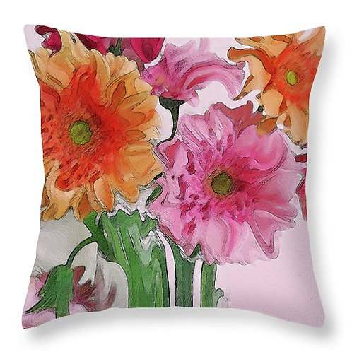Abstract pink and orange Gerbera daisy pillow by Suzy 2.0