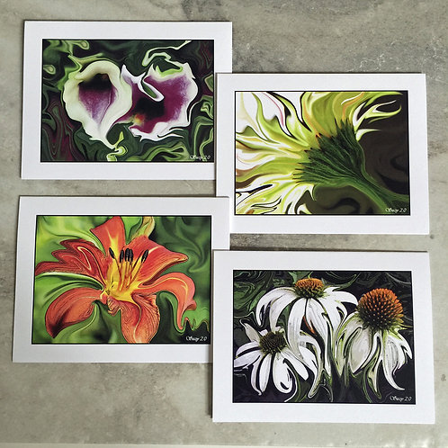Enhanced Floral #2 - Flower Note Cards
