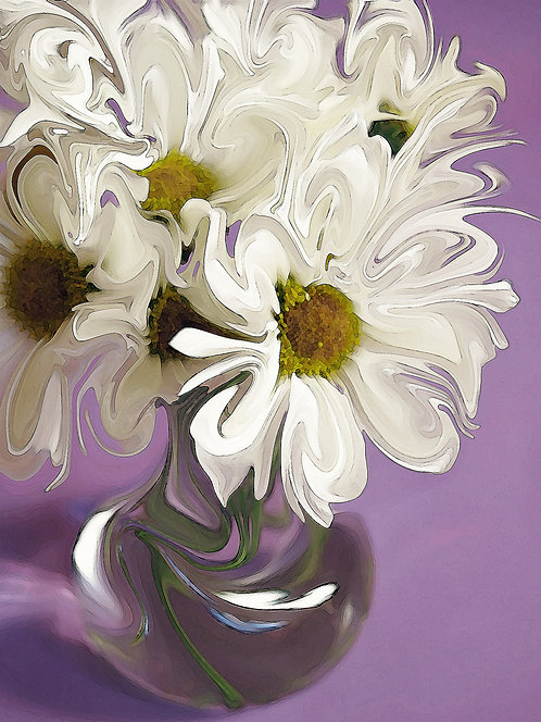 Abstract white daisy bouquet with purple background Giclee Print by Suzy 2.0