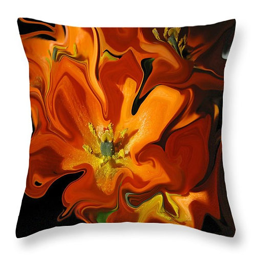 Abstract orange tulip pillow by Suzy 2.0