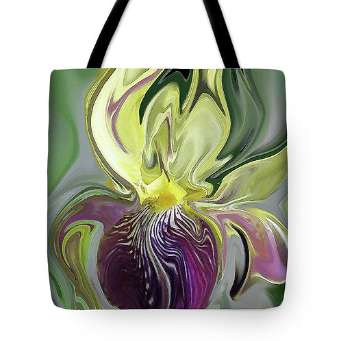 abstract purple and yellow bearded Iris tote bag by Suzy 2.0