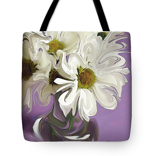 abstract white daisy with purple background tote by Suzy 2.0