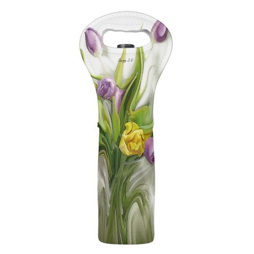 abstract purple and yellow tulip wine tote by Suzy 2.0
