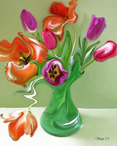 Colorful Spring Abstract Tulip Bouquet Giclee Print by Suzy 2.0