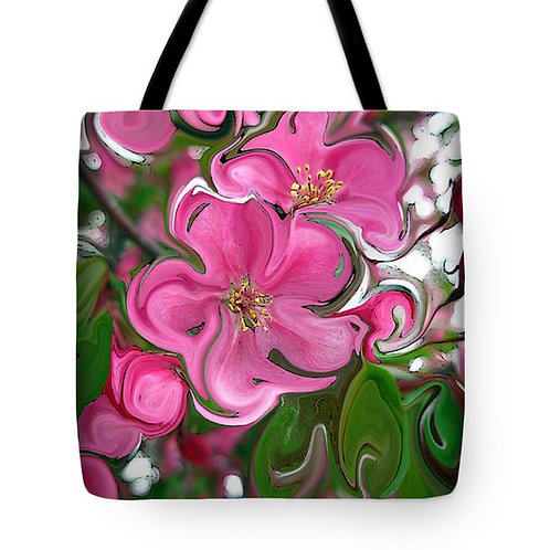 abstract pink apple blossom tote bag by Suzy 2.0
