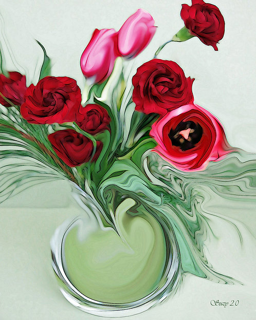Abstract tulip and carnation bouquet Giclee Print by Suzy 2.0