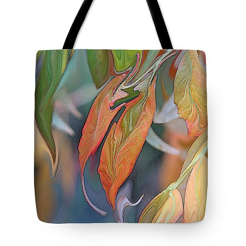abstract fall-colored sumac leaf tote bag by Suzy 2.0
