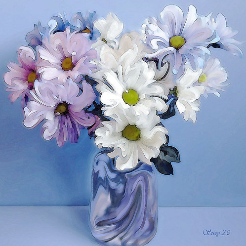 White, blue and purple abstract daisy bouquet giclee print by Suzy 2.0