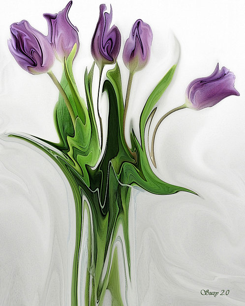 Abstract Purple Tulip Bouquet Giclee Print by Suzy 2.0