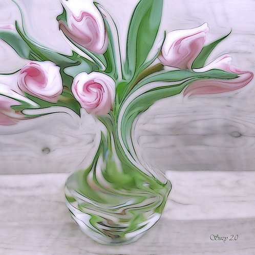 Abstract pink tulip bouquet Giclee Print by Suzy 2.0