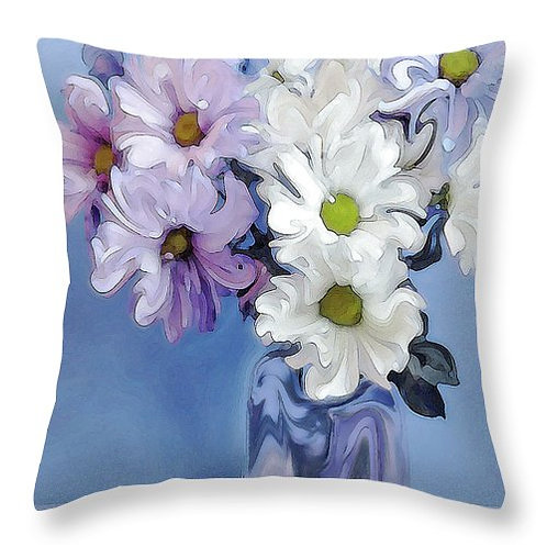 Abstract white, pink & purple daisy pillow by Suzy 2.0