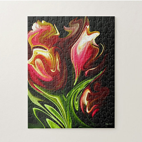 Abstract red tulip bouquet puzzle by Suzy 2.0