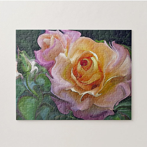 Abstract pink and yellow rose puzzle by Suzy 2.0