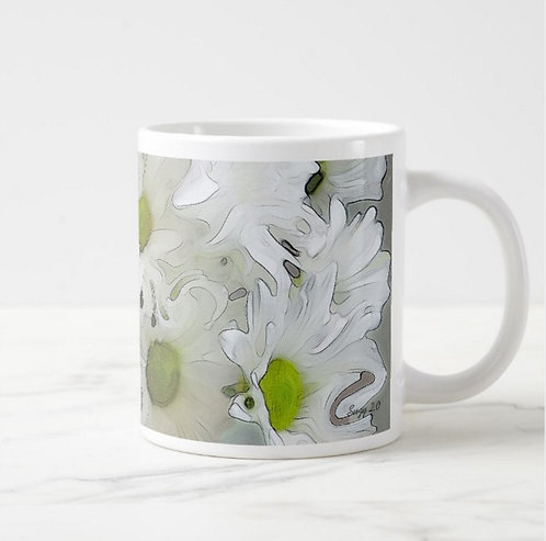 Suzy 2.0 Whimsical Waltz Abstract White Daisy Mug Right