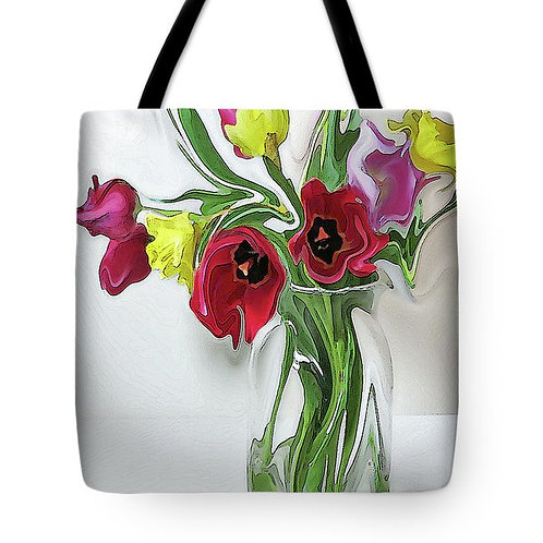 abstract red tulip and yellow daffodil tote bag by Suzy 2.0