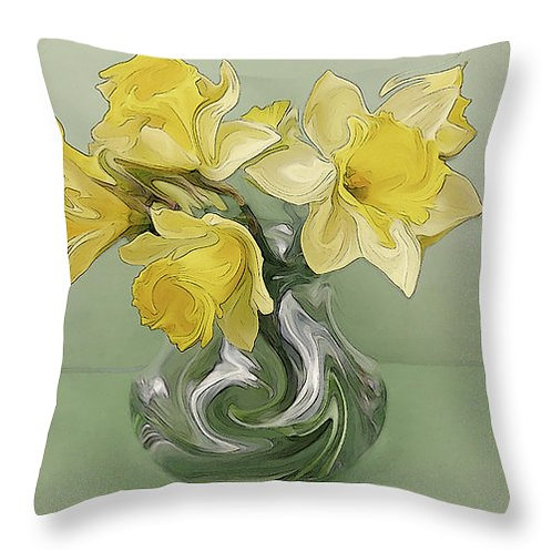 Abstract yellow daffodil pillow by Suzy 2.0