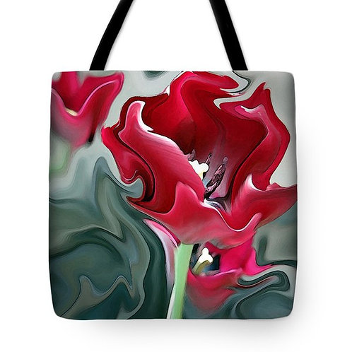 abstract red tulip tote bag by Suzy 2.0