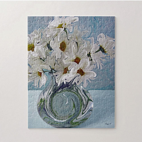 Abstract white daisy bouquet with blue background puzzle by Suzy 2.0