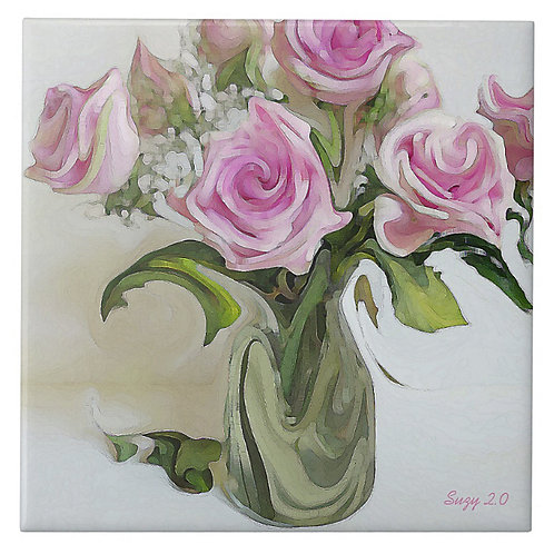 An abstract pink rose bouquet decorative tile by Suzy 2.0