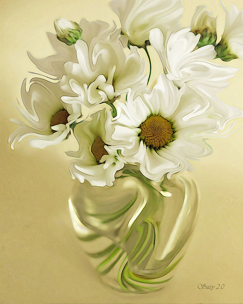 Abstract white daisy bouquet Giclee Print by Suzy 2.0