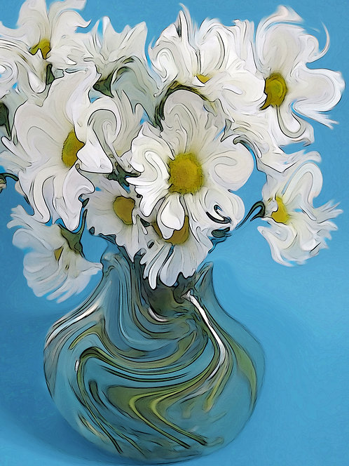 Abstract white daisy with blue background Giclee Print by Suzy 2.0