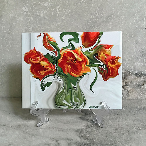 Arancione Improvvisare Floral Tile