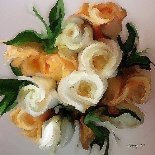 Abstract orange & cream rose bouquet Giclee Print by Suzy 2.0