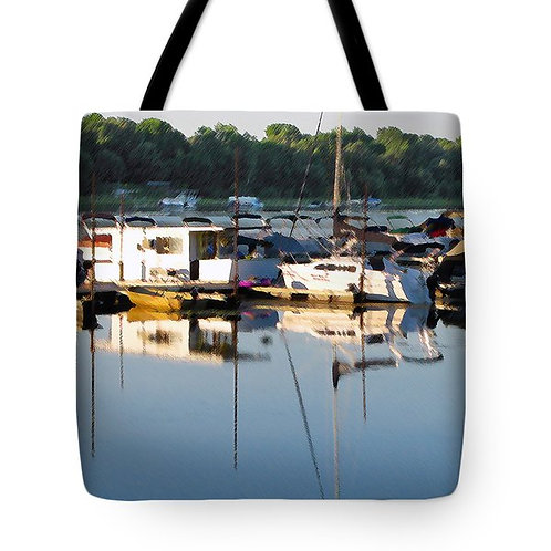Impressionistic boats on water tote bag by Suzy 2.0