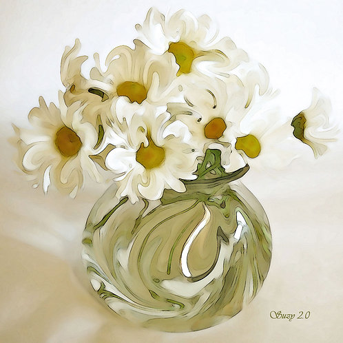 White abstract daisy bouquet giclee print by Suzy 2.0