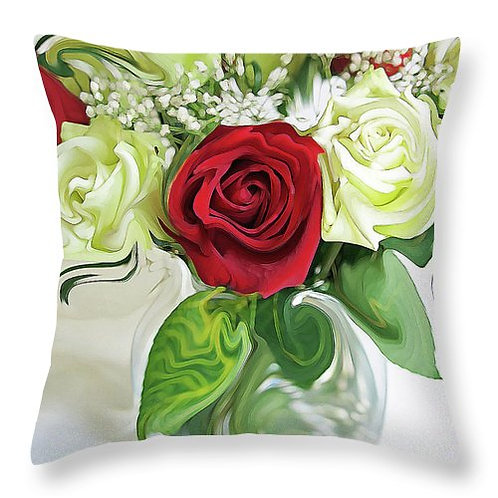 Abstract red and white rose pillow by Suzy 2.0