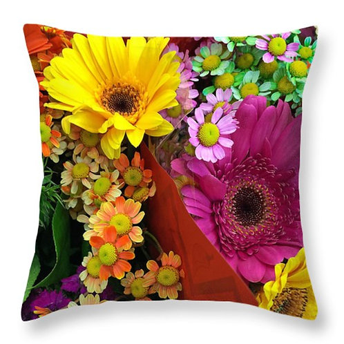 Mulit-colored daisy pillow by Suzy 2.0