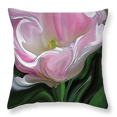 Abstract pink tulip pillow by Suzy 2.0