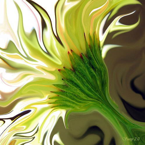 Abstract yellow Gerbera daisy gallery wrapped canvas by Suzy 2.0